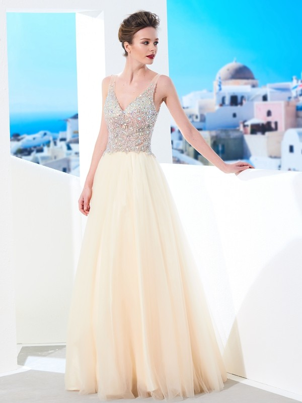 V-neck Floor-Length Champagne Prom Dresses with Beading