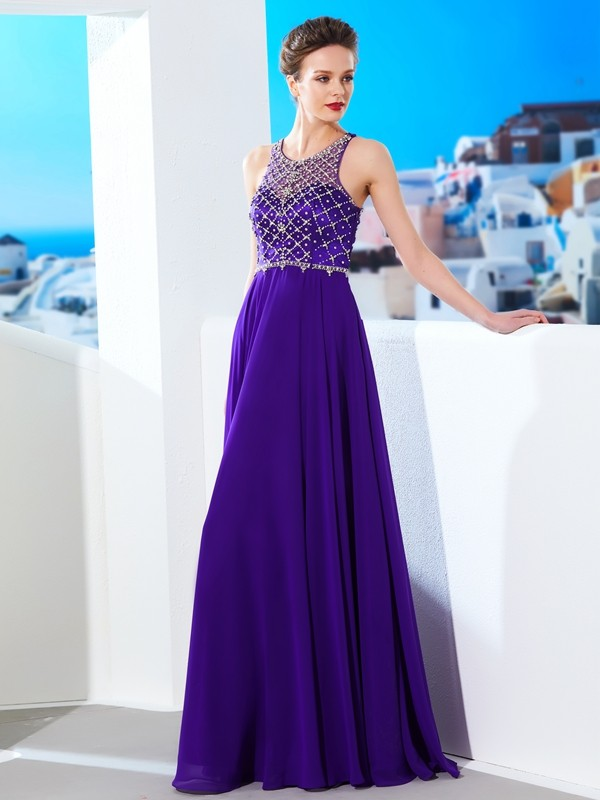 Chiffon Scoop Floor-Length Regency Prom Dresses
