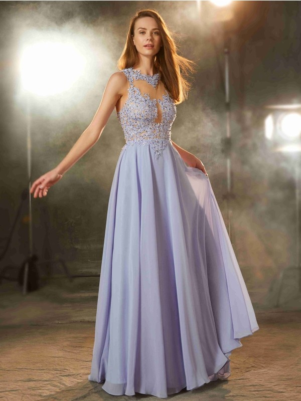 Lavender A-Line Scoop Floor-Length Prom Dresses with Applique