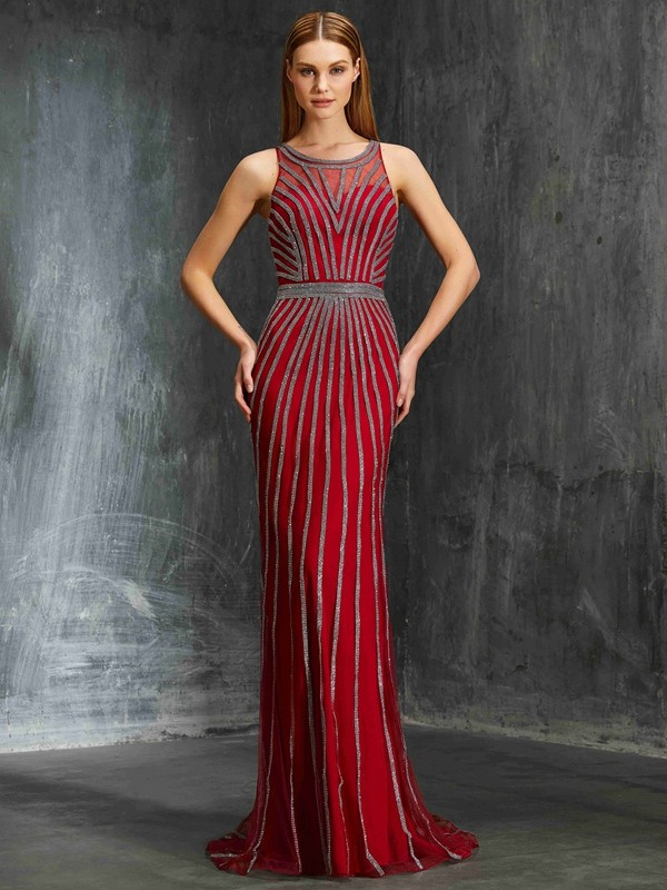 Sheath Scoop Brush Train Red Prom Dresses