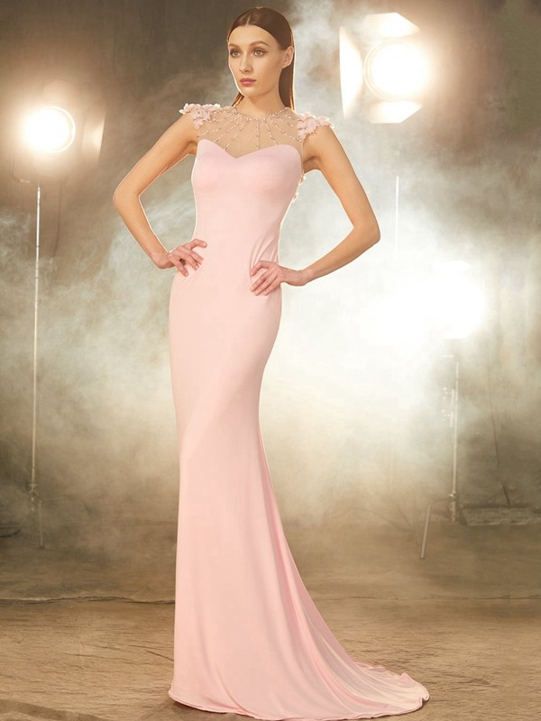 Mermaid Short Sleeves Jewel Brush Train Pink Prom Dresses