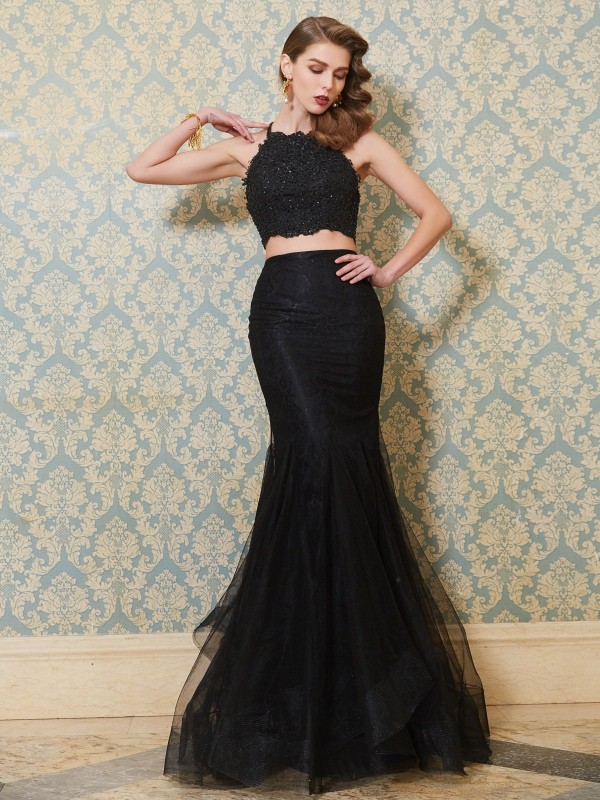 Black Mermaid Spaghetti Straps Floor-Length Prom Dresses with Applique