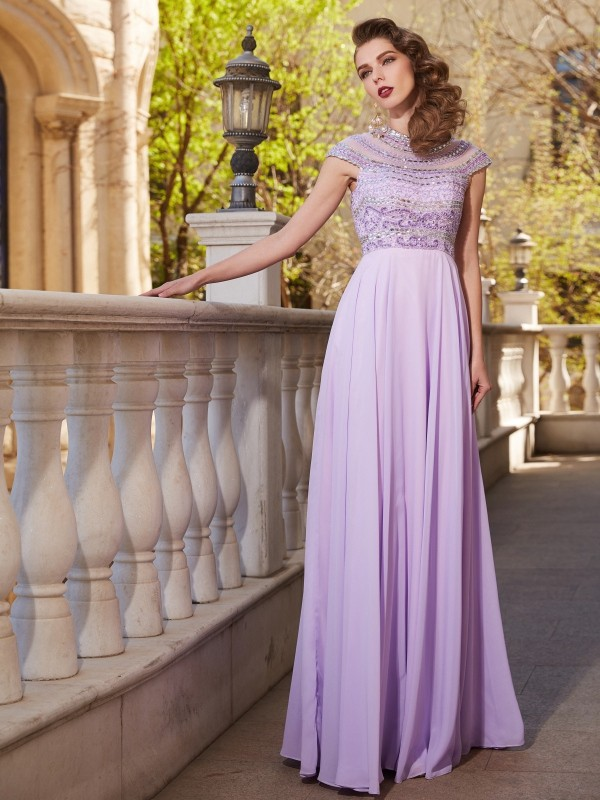 Floor-Length Lilac Short Sleeves Scoop Prom Dresses with Beading