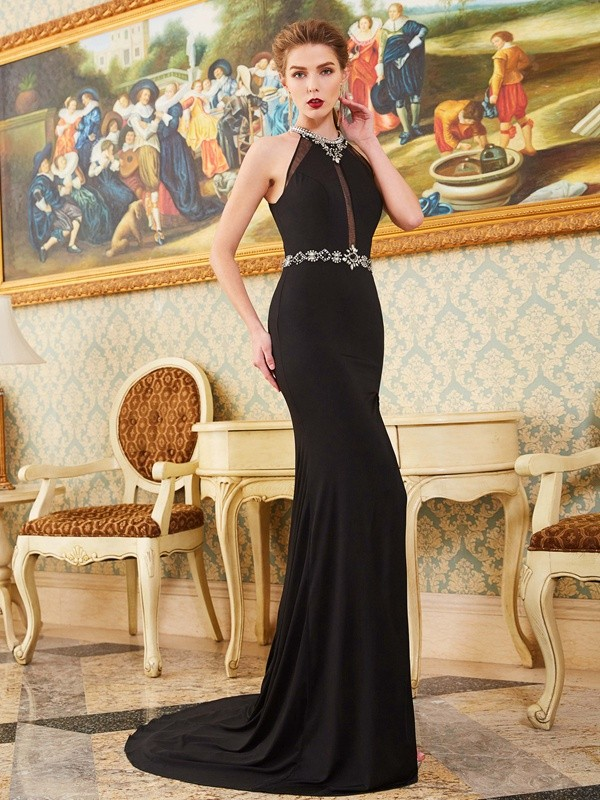 Sheath High Neck Brush Train Black Prom Dresses with Beading