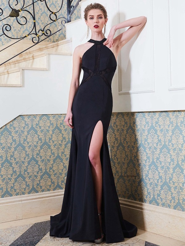 Sheath Jewel Brush Train Dark Navy Prom Dresses