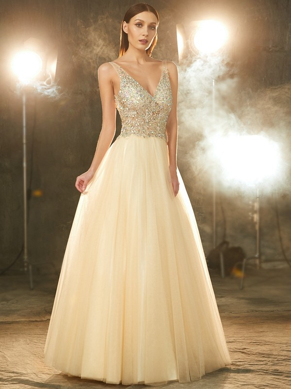 Tulle V-neck Floor-Length Champagne Prom Dresses