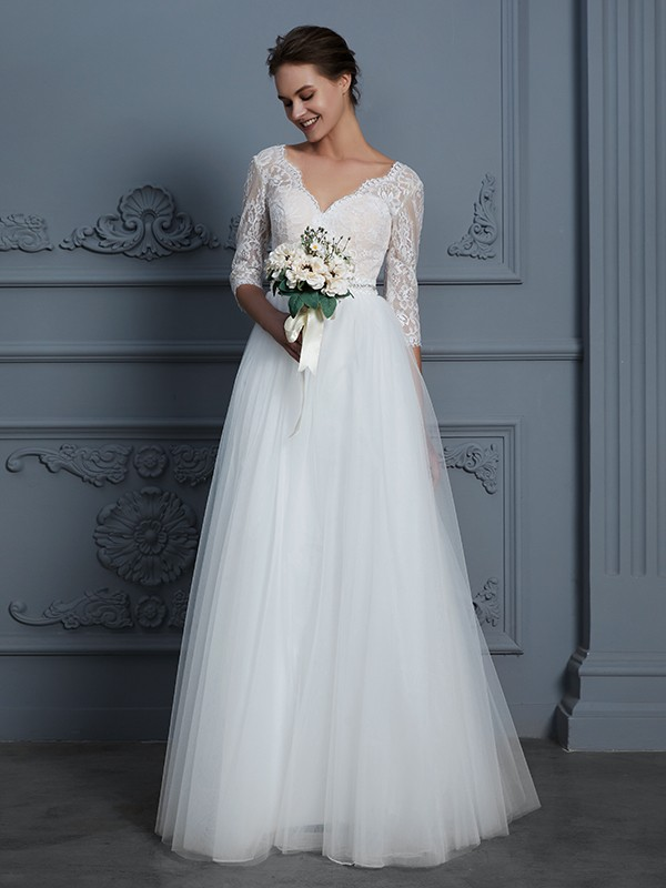 A-Line 3/4 Sleeves V-neck Floor-Length Ivory Wedding Dresses