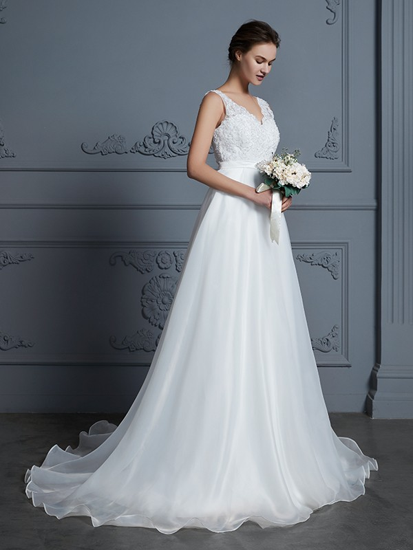 A-Line Chiffon V-neck Floor-Length Ivory Wedding Dresses