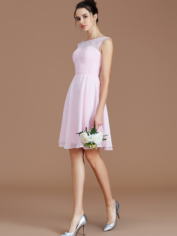 A-Line Bateau Short/Mini Pink Bridesmaid Dresses