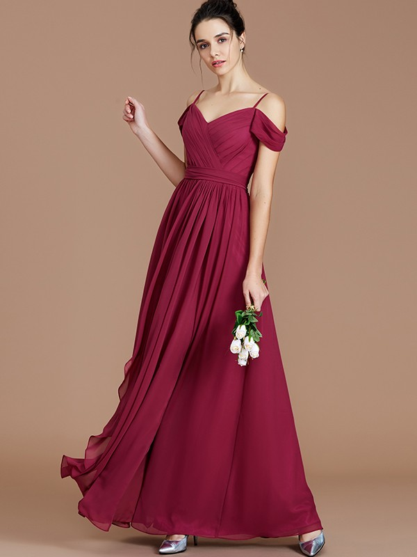 Off-the-Shoulder Floor-Length Burgundy Bridesmaid Dresses with Ruched