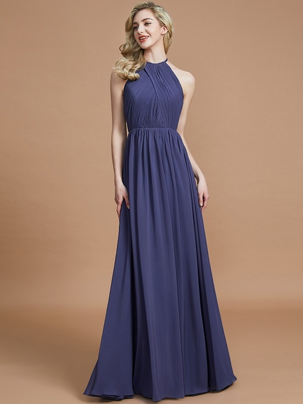 Brown Scoop Chiffon Floor-Length Bridesmaid Dresses