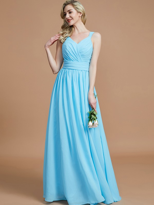 Light Sky Blue A-Line V-neck Floor-Length Bridesmaid Dresses