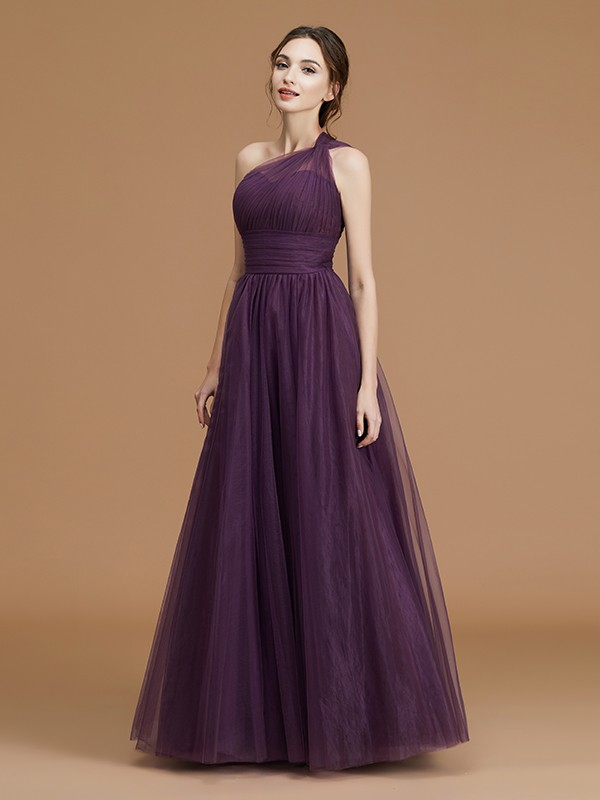 A-Line One-Shoulder Floor-Length Grape Bridesmaid Dresses with Ruched
