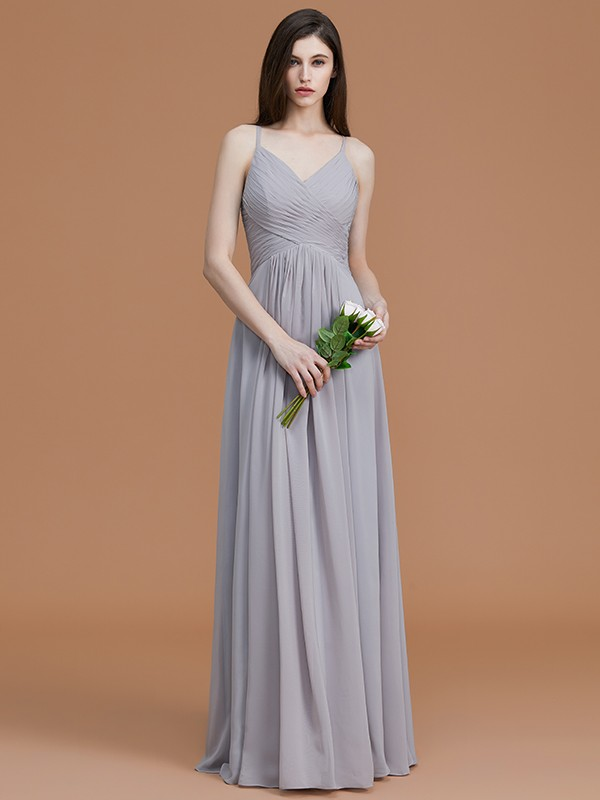 Floor-Length Silver Spaghetti Straps Bridesmaid Dresses with Ruched