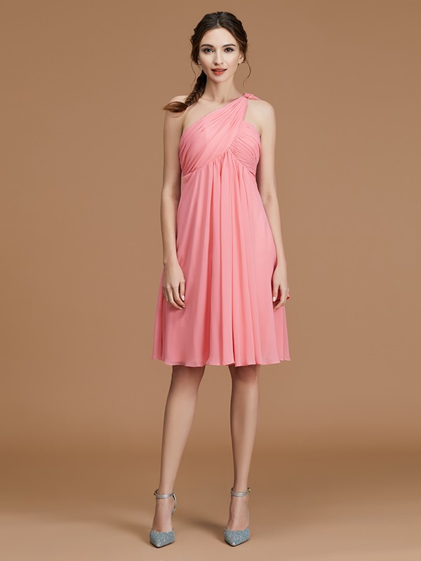 Watermelon One-Shoulder Chiffon Short/Mini Bridesmaid Dresses
