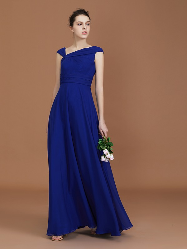 A-Line Chiffon V-neck Floor-Length Royal Blue Bridesmaid Dresses