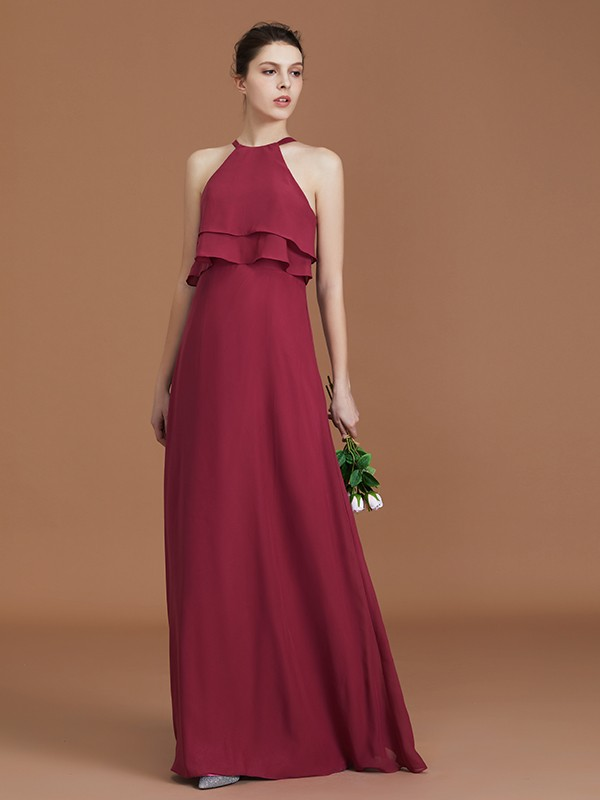 Chiffon Scoop Floor-Length Fuchsia Bridesmaid Dresses