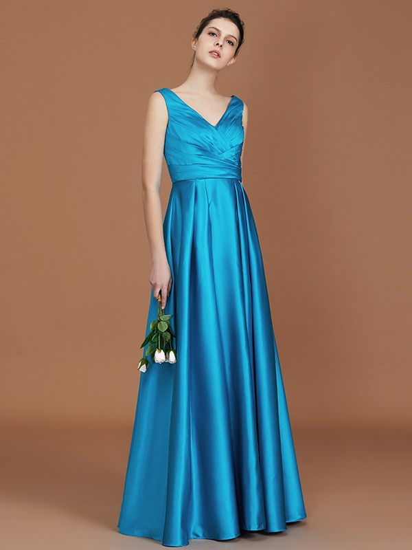 Blue A-Line V-neck Floor-Length Bridesmaid Dresses with Ruffles