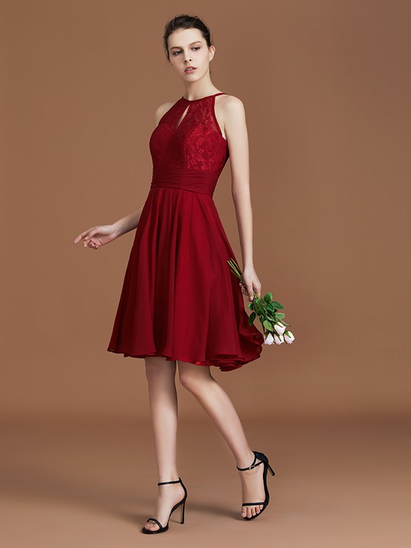 A-Line Knee-Length Burgundy Bridesmaid Dresses with Lace