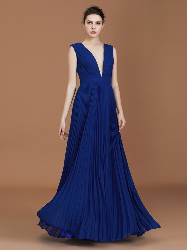 V-neck Floor-Length Royal Blue Bridesmaid Dresses
