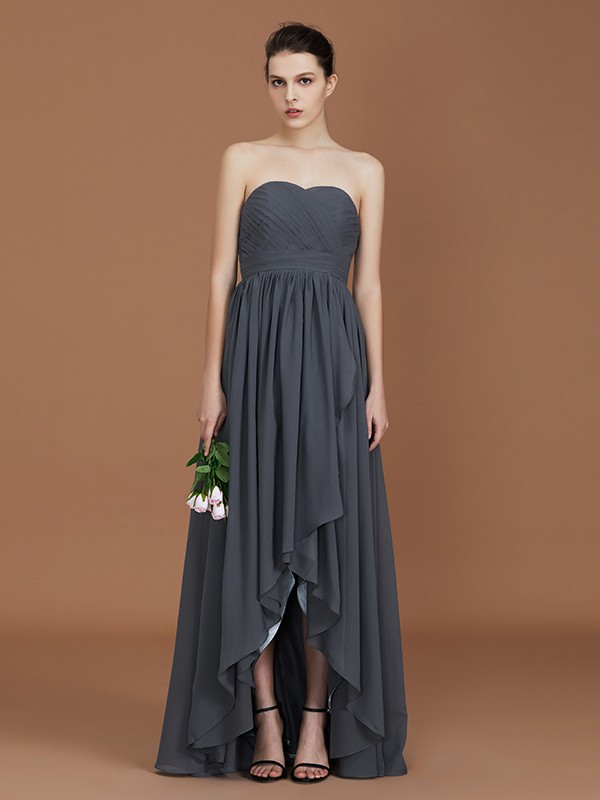 A-Line/Princess Asymmetrical Sleeveless Ruched Sweetheart Floor-Length Chiffon Bridesmaid Dresses