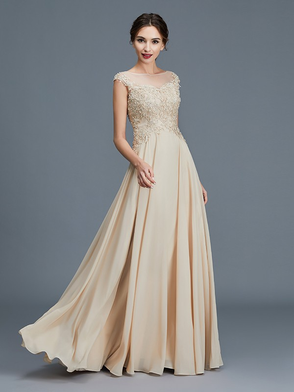 A-Line Scoop Floor-Length Gold Mother of the Bride Dresses