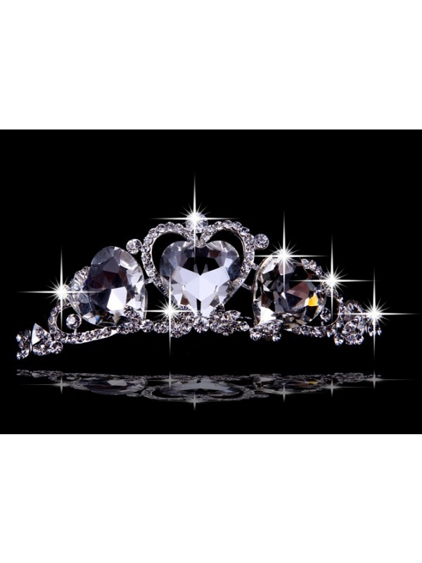 Beautiful Alloy With Czech Rhinestones Hearts Wedding Headpieces