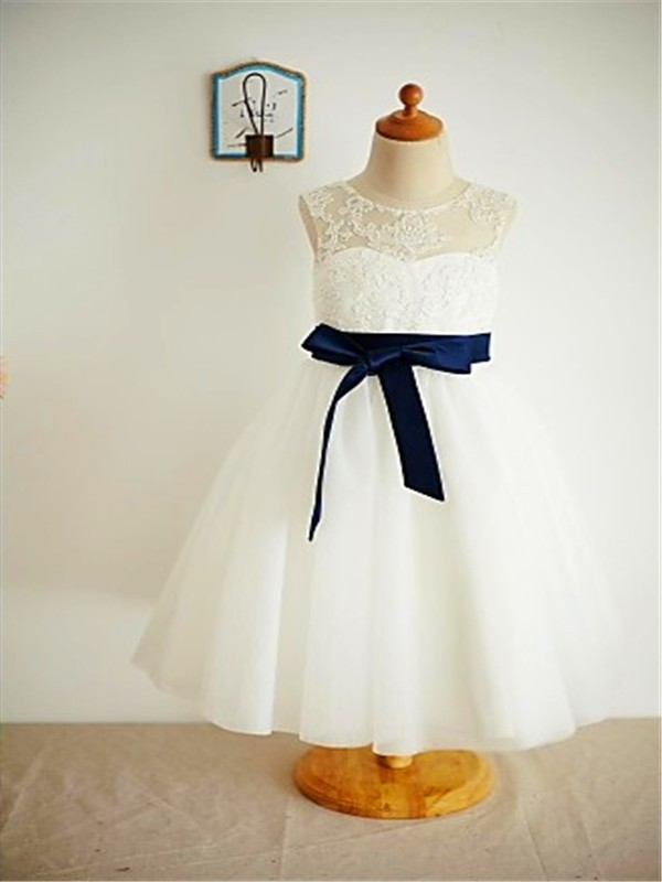 A-line/Princess Scoop Sleeveless Lace Ankle-Length Tulle Flower Girl Dresses