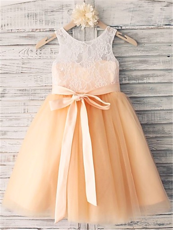 Tea-Length Champagne Scoop Flower Girl Dresses with Sash/Ribbon/Belt