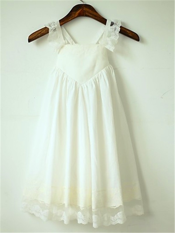 A-line/Princess Straps Sleeveless Ruffles Floor-Length Chiffon Flower Girl Dresses