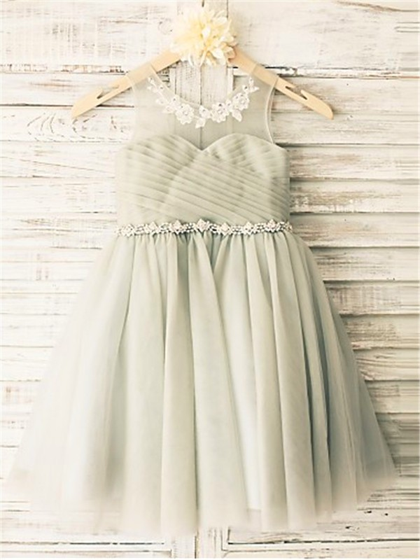 A-Line Scoop Tea-Length Grey Flower Girl Dresses with Beading