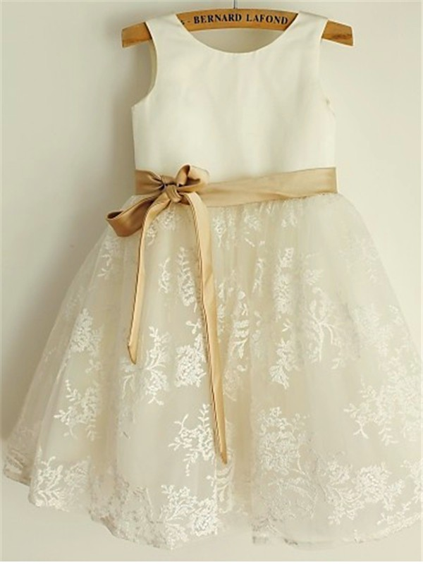 Lace Scoop Tea-Length White Flower Girl Dresses