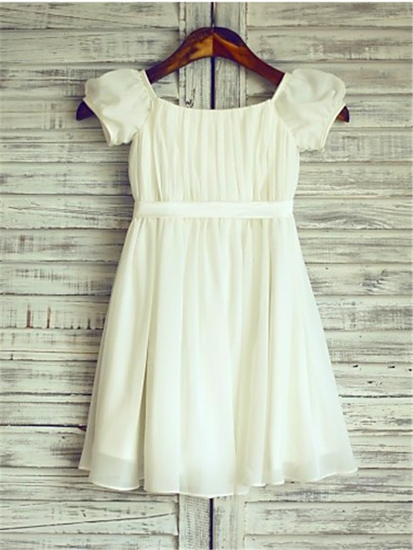 Short Sleeves A-Line Square Tea-Length Ivory Flower Girl Dresses