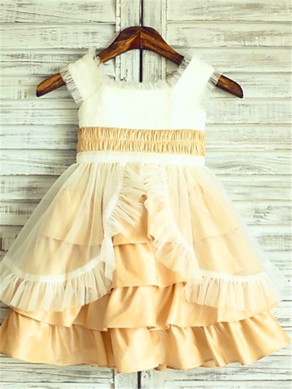Satin A-Line Tea-Length Square Gold Flower Girl Dresses