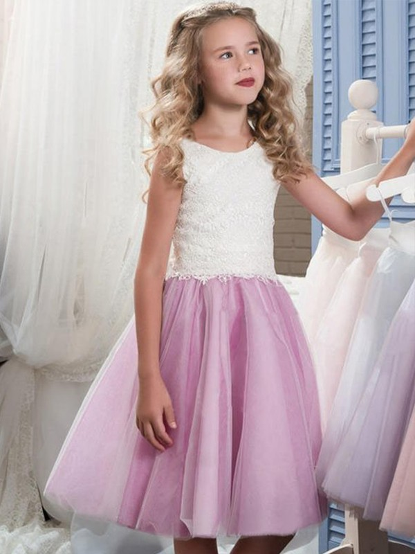 A-Line Scoop Knee-Length Lilac Tulle Flower Girl Dresses