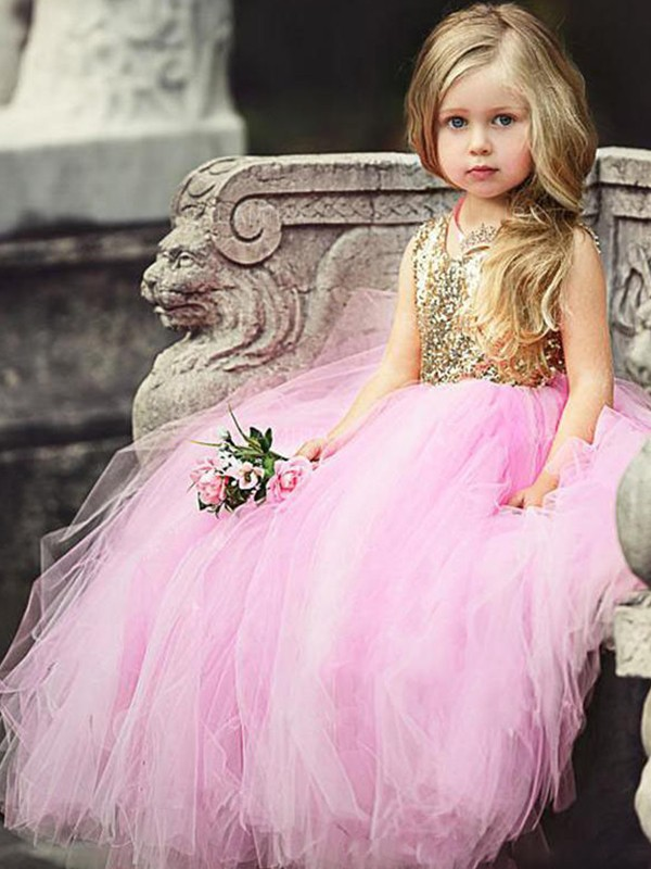 Ball Gown Scoop Floor-Length Sequin Pink Flower Girl Dresses