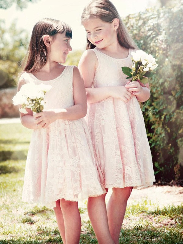 A-Line Scoop Knee-Length Ivory Ruffles Lace Flower Girl Dresses