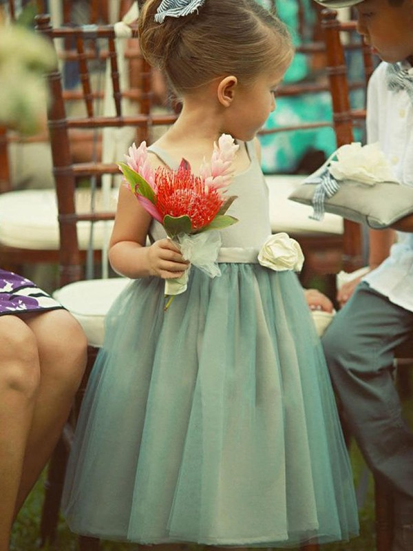 A-Line Square Tea-Length Green Tulle Flower Girl Dresses