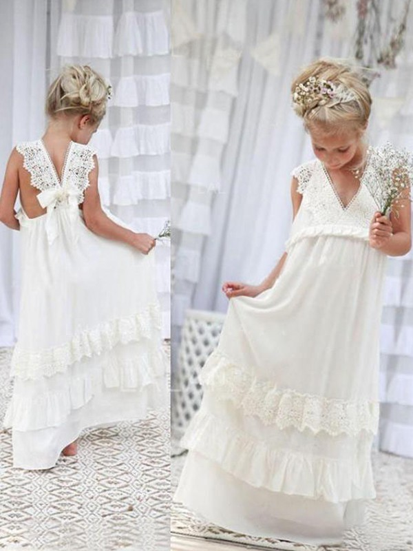 Empire V-neck Floor-Length Ivory Chiffon Flower Girl Dresses