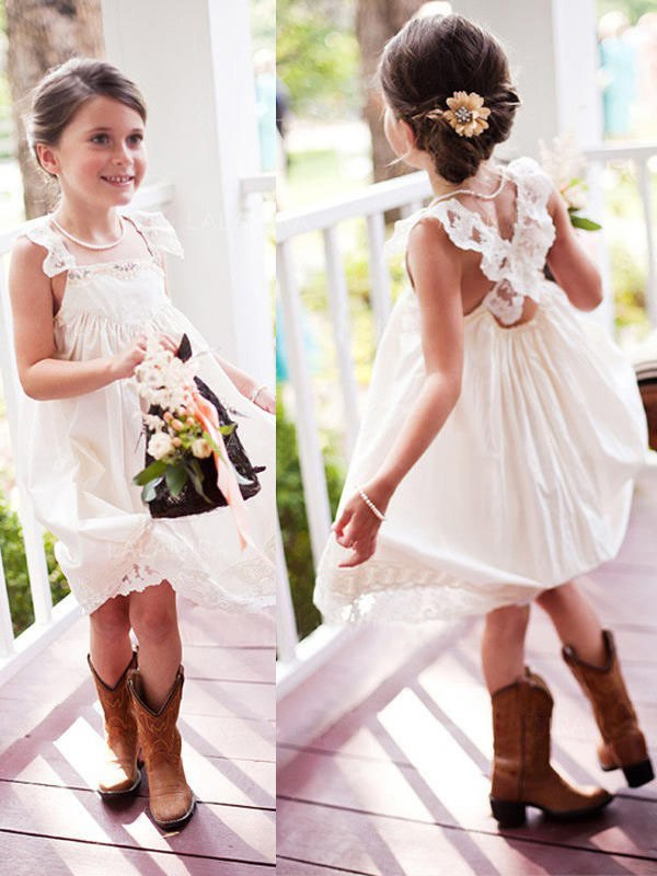 A-Line Square Knee-Length Ivory Chiffon Flower Girl Dresses