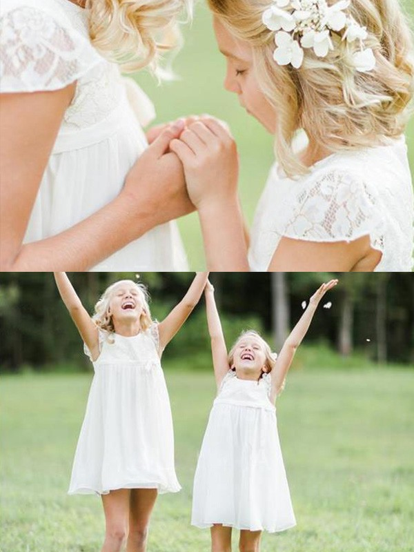 A-Line Scoop Knee-Length White Lace Chiffon Flower Girl Dresses