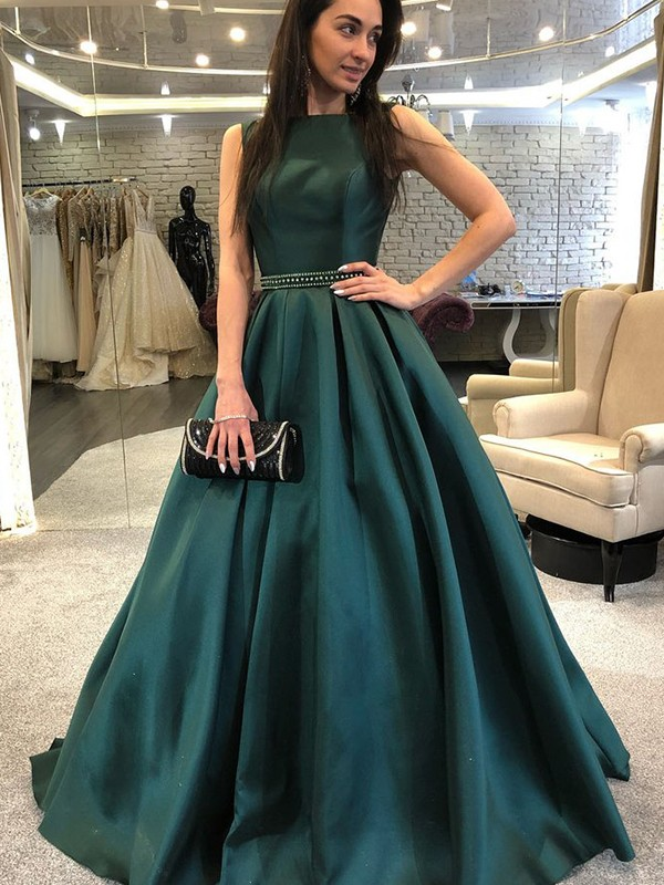 A-Line Bateau Hunter Green Beading Satin Prom Dresses