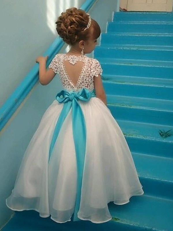 Ball Gown Scoop White Long Beading Organza Flower Girl Dresses