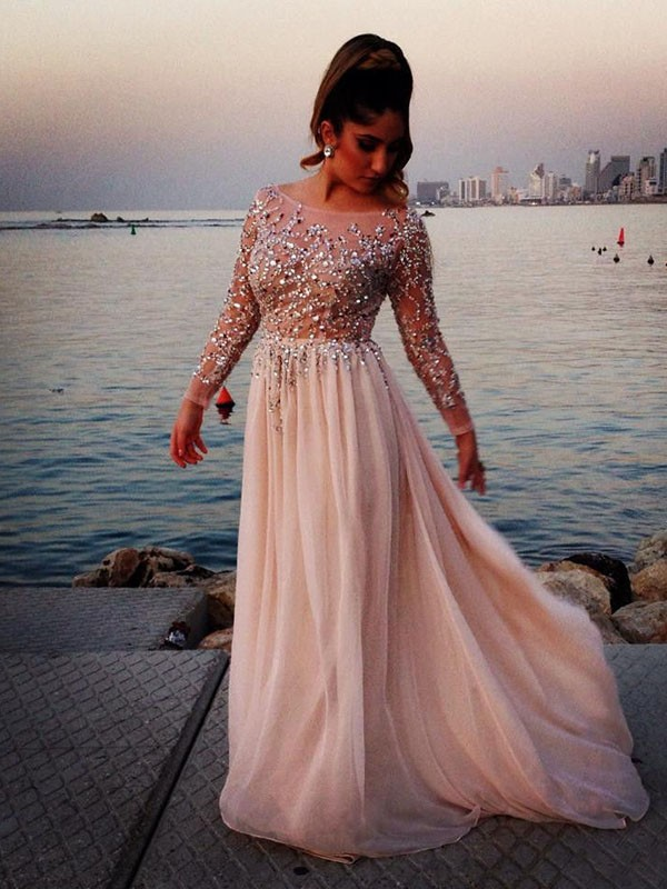 A-Line Bateau Floor-Length Pearl Pink Prom Dresses with Beading