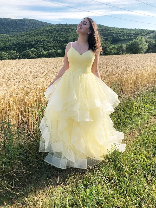 A-Line/Princess Ruffles Spaghetti Straps Sleeveless Organza Floor-Length Dresses