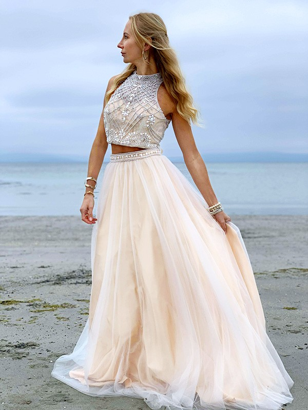 A-Line/Princess High Neck Tulle Beading Sleeveless Floor-Length Two Piece Dresses