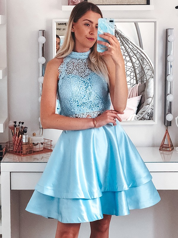 A-Line/Princess Satin Lace Sleeveless Halter Short/Mini Two Piece Homecoming Dresses
