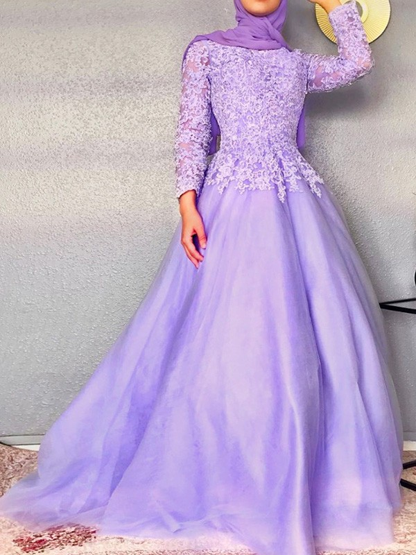 Ball Gown Long Sleeves Lace Tulle Jewel Floor-Length Dresses
