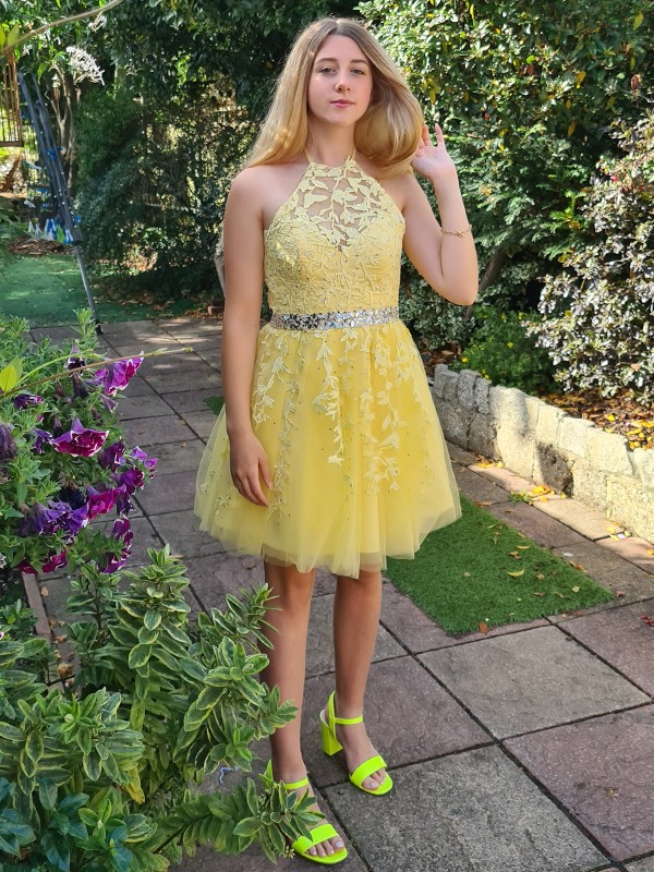 A-Line/Princess Sleeveless Halter Tulle Applique Short/Mini Homecoming Dresses