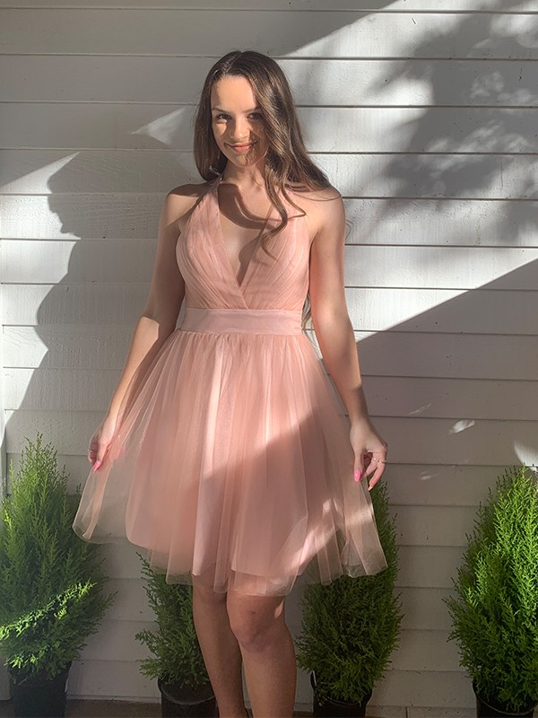 A-Line/Princess Tulle Halter Sleeveless Ruffles Short/Mini Homecoming Dresses